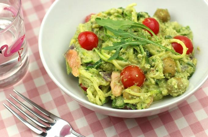 Salmon and avocado courgetti