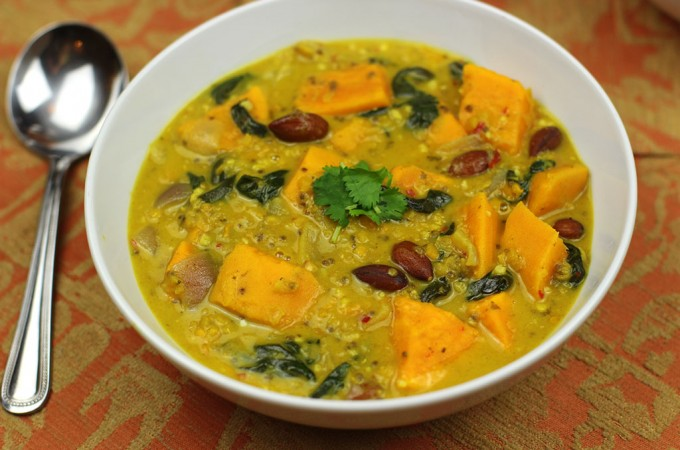 Sweet potato and spinach dal